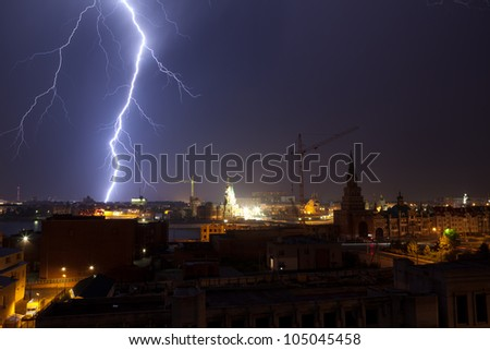 Lightning in the city - stock photo