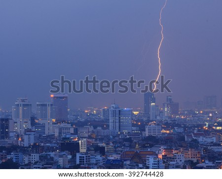 lightning in the city  in the evening