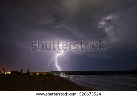 lightning in the clouds, flashes of light in the Crimea, on Cape Kazantip