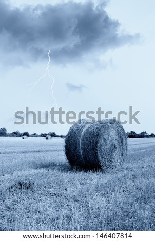 lightning in the sky in italy - stock photo
