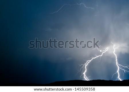 Lightning in Thunderstorm  - stock photo