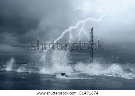 lightning on the big waves - stock photo