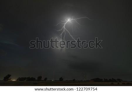 Lightning over Aerial masts - stock photo
