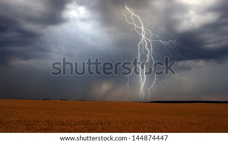 Lightning over corn field