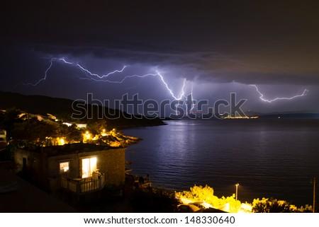 Lightning over Dalmatia - stock photo