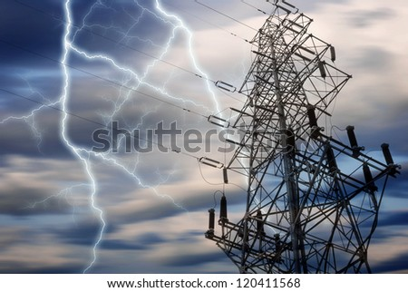 lightning over power station - stock photo