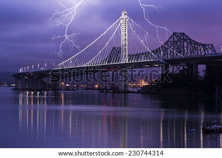 Lightning Over San Francisco Bay Bridge - stock photo