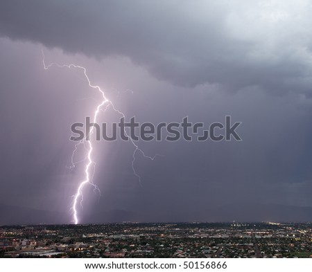 Lightning over the east side of Tucson - stock photo