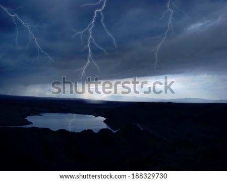 Lightning over the murky lake - stock photo