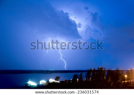 Lightning over the river Volga. Volgograd. Russia