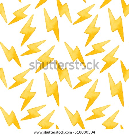 Lightning. Seamless pattern with electricity symbol. Real watercolor illustration