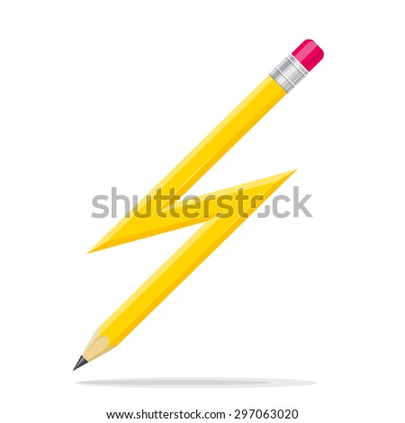 Lightning Shaped Pencil. Conceptual illustration.    - stock photo