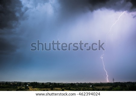 Lightning, storm clouds