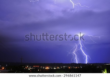 Lightning storm over city, Spokane, Washington