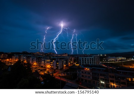 Lightning storm over Krakow - stock photo