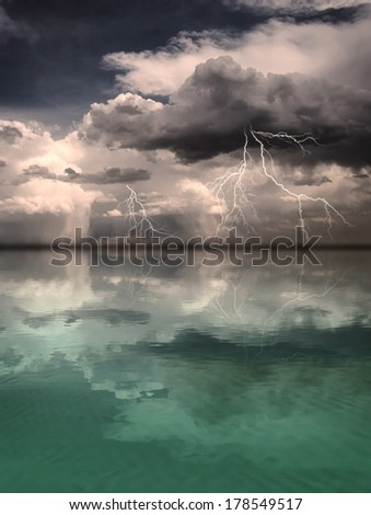Lightning storm reflected in the distance upon an otherwise calm ocean with a sandy bottom.