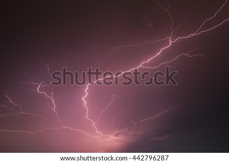 Lightning storm strikes the city