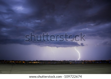 lightning storm with heavy storm clouds