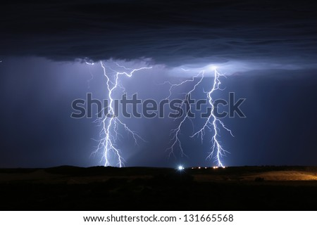 Lightning Storm Yanchep Perth Western Australia - stock photo