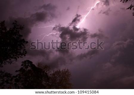 Lightning strike in Missouri. - stock photo