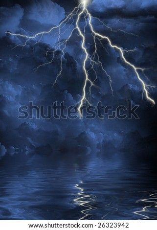 lightning strike in the clouds