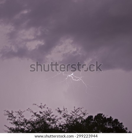 Lightning strike in the clouds with a tree backlit in the foreground - stock photo