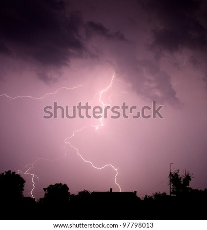 Lightning strike in the darkness