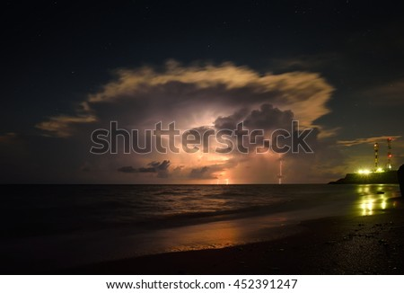 lightning strike in the darkness, storm on the sea
