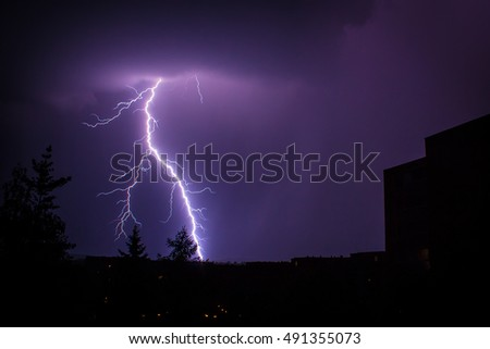 Lightning Strike Near Building