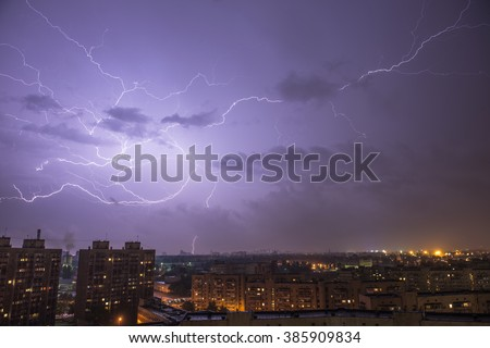 Lightning Strike on purple sky above the town