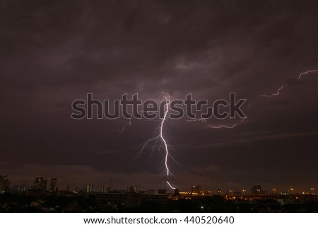 Lightning strike over Bangkok city, June 20, 2016.