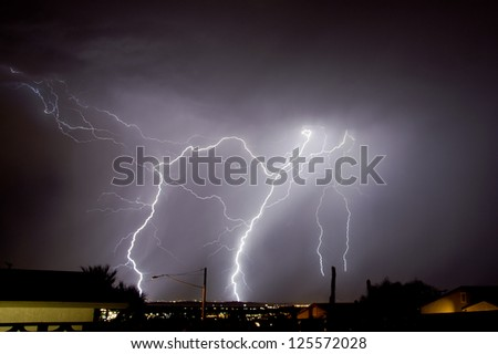 Lightning strike over Palm Springs California