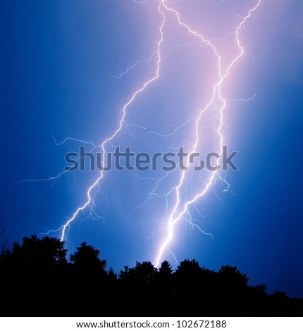 Lightning strikes - stock photo