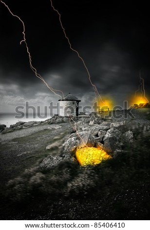 Lightning strikes from dark cloudy sky causing fires - stock photo