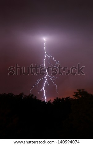 Lightning strikes from the evening sky