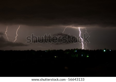 Lightning striking a city in the distance