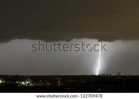 Lightning striking Denver Colorado 2 - stock photo