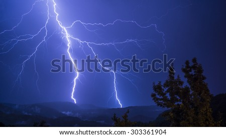 Lightning that pierces the valley. - stock photo