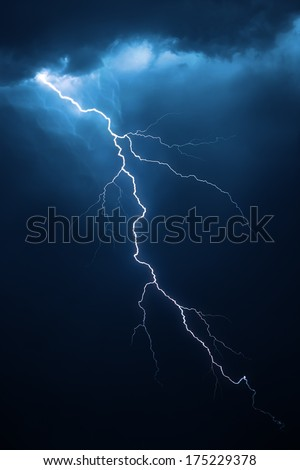 Lightning with dramatic clouds (composite image) - stock photo
