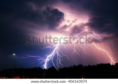 Lightning with dramatic clouds (composite image). Night thunder-storm - stock photo