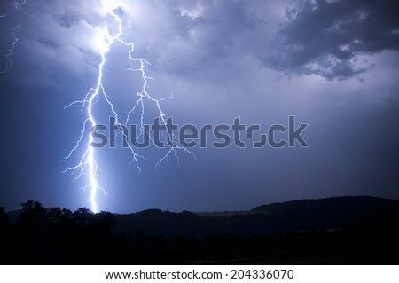 lightnings at night - stock photo
