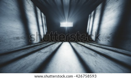 Lightrays Shine through Rails in Demolished Solitary Confinement Prison Cell 3D Illustration