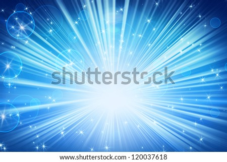 lights and shining stars blue abstract background - stock photo