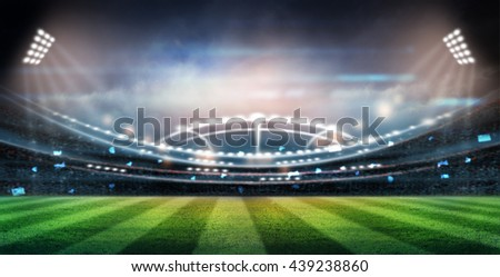lights at night and stadium 3d render, - stock photo