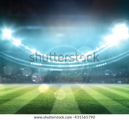 lights at night and stadium.digital effect 3d, - stock photo