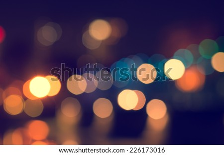 Lights Blurred Bokeh Background From Christmas Night Party For Your Design Vintage Or Retro Color