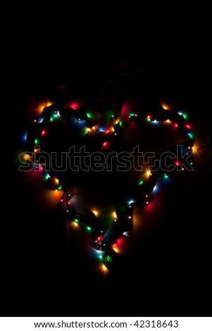 Lights in heart shape - stock photo