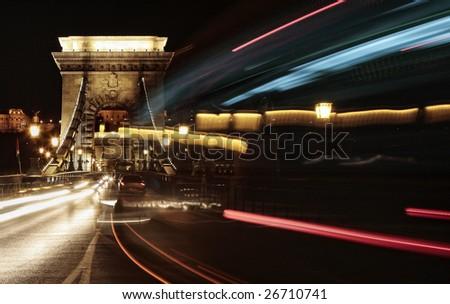 lights of evening traffic - stock photo