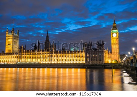 Lights of Houses of Parliament and Big Ben at Dusk, front view - London - UK