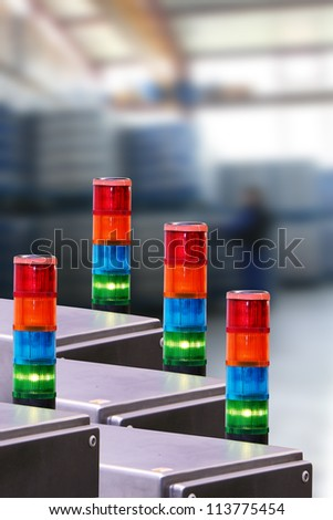 Lights of machines in the industrial production - stock photo
